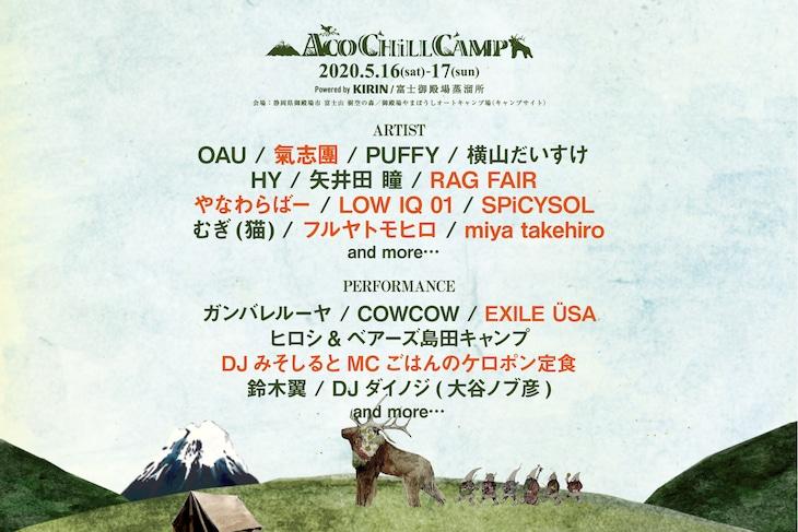 「ACO CHiLL CAMP 2020 powered by KIRIN / 富士山御殿場蒸溜所 ~アソブ、オドロク、フジサン、キャンプ。~」出演アーティスト第3弾告知ビジュアル
