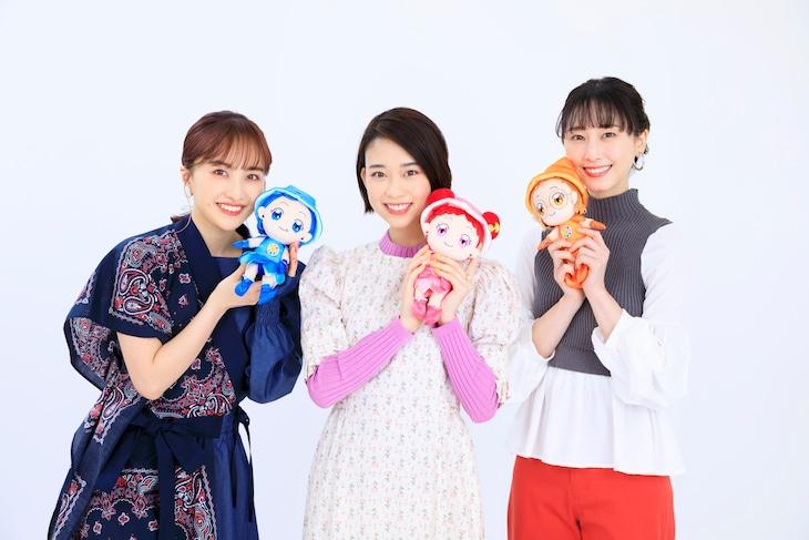 左から百田夏菜子(ももいろクローバーZ)、森川葵、松井玲奈。(c)東映・東映アニメーション