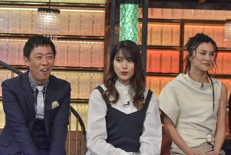 左から森田哲矢、入山杏奈、仲宗根梨乃。(c)NTV