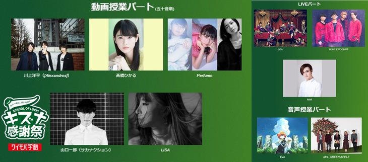「SCHOOL OF LOCK! キズナ感謝祭」出演者