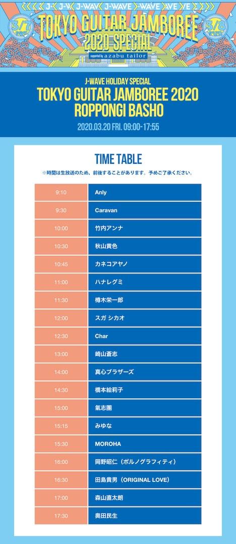 J-WAVE「J-WAVE HOLIDAY SPECIAL TOKYO GUITAR JAMBOREE 2020 ~ROPPONGI BASHO」タイムテーブル