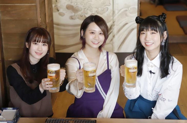 左から前田佳織里、古畑奈和(SKE48)、古川未鈴(でんぱ組.inc)。(c)VAP・BS日テレ・PONY CANYON