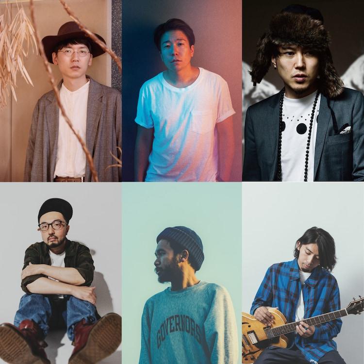 左上から時計回りにKan Sano、Michael Kaneko、Hiro-a-key、関口シンゴ、mabanua、Shingo Suzuki。