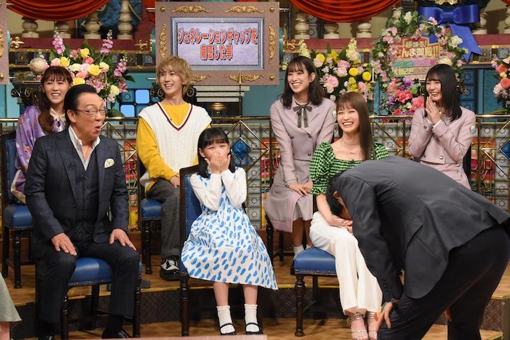 左から西野未姫、梅沢富美男、末吉9太郎、粟野咲莉、佐々木久美、生見愛瑠、小坂菜緒。(c)NTV