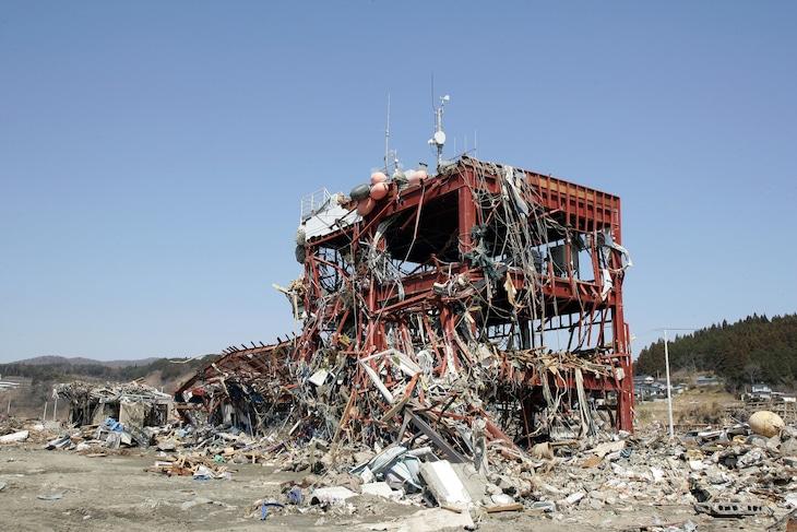 東日本大震災で被災した宮城県本吉郡南三陸町の南三陸町防災対策庁舎。