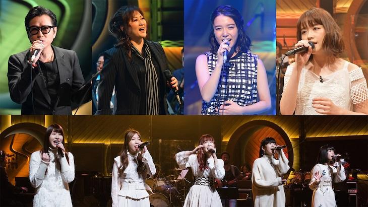 左上から時計回りに藤井フミヤ、渡辺美里、上白石萌音、大原櫻子、Little Glee Monster。