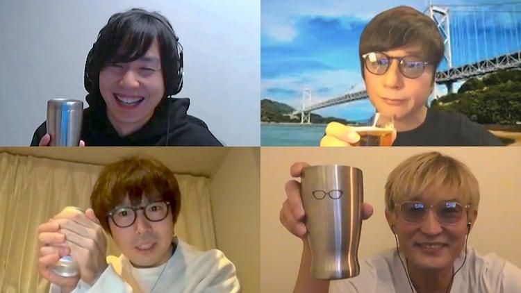 左上から時計回りに山村隆太 (flumpool)、岡野昭仁(ポルノグラフィティ)、スガシカオ、高橋優。
