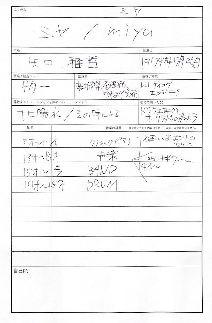 ミヤの手書き履歴書。