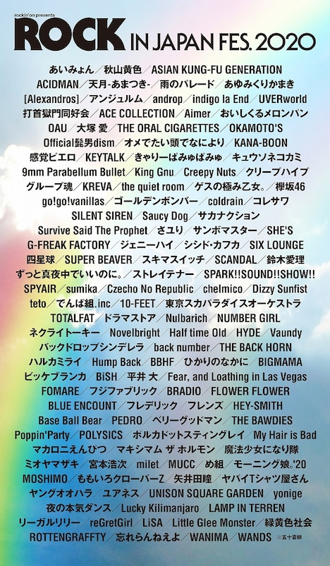 「ROCK IN JAPAN FESTIVAL 2020」出演者一覧