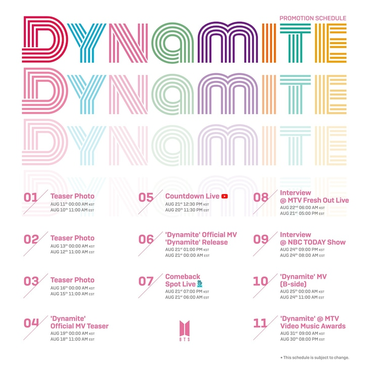 BTSがSNSを通じて発表した「Dynamite」プロモーションスケジュール。