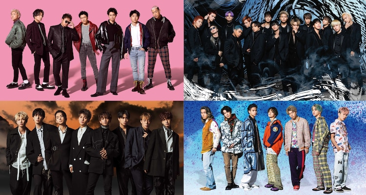 Jr.EXILE。左上から時計回りにGENERATIONS from EXILE TRIBE、THE RAMPAGE from EXILE TRIBE、BALLISTIK BOYZ from EXILE TRIBE、FANTASTICS from EXILE TRIBE。