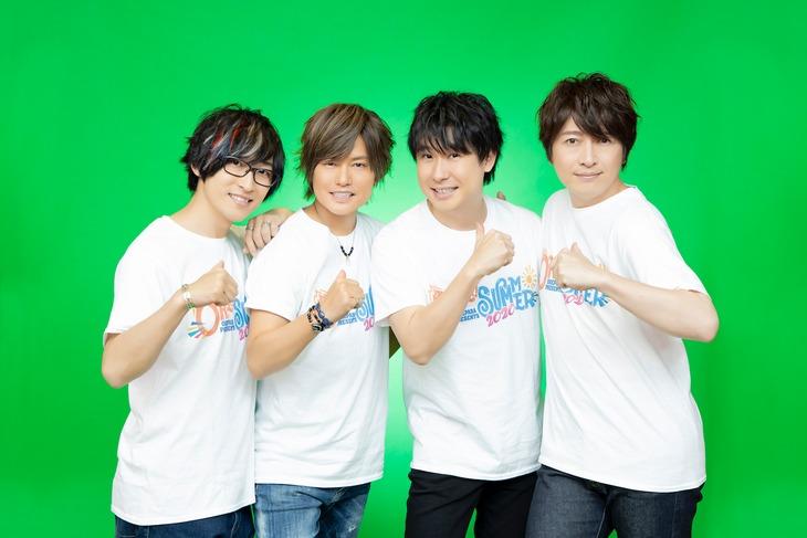 左から寺島拓篤、森久保祥太郎、鈴村健一、小野大輔。