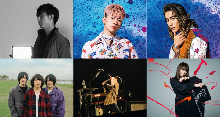 「UMEDA FOOD HALL×FM802 -OSAKA SMILE ART&EAT-」イラスト提供アーティスト。左上から尼川元気(flumpool)、奥田力也・砂田将宏(BALLISTIK BOYZ from EXILE TRIBE)、KANA-BOON、渋谷すばる、矢井田瞳。