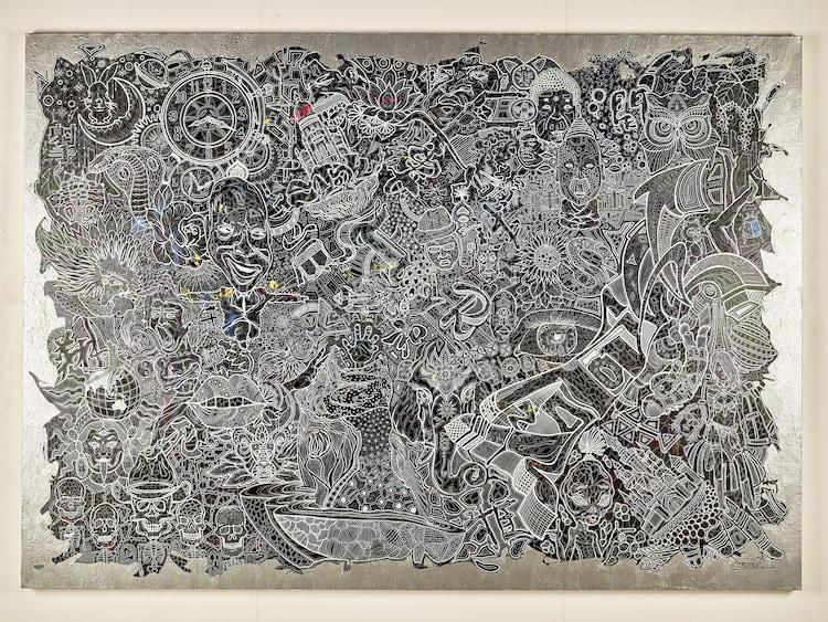 「FREESTYLE 2020 大野智 作品展」に展示されている巨大細密画。