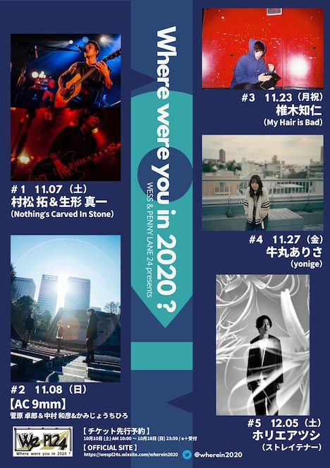 「WESS&PENNY LANE 24 presents『Where were you in 2020?』」告知ビジュアル