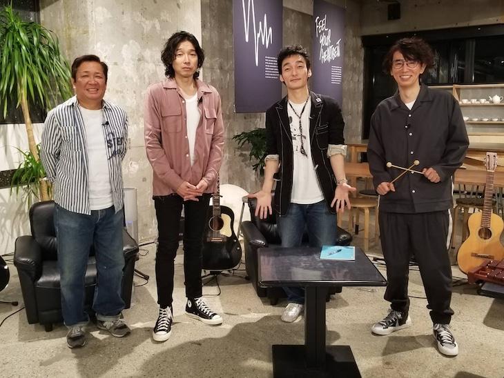 左から大熊英司アナウンサー、斉藤和義、草なぎ剛、ユースケ・サンタマリア。