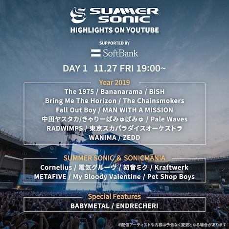 「Summer Sonic Highlights on YouTube」DAY1告知ビジュアル