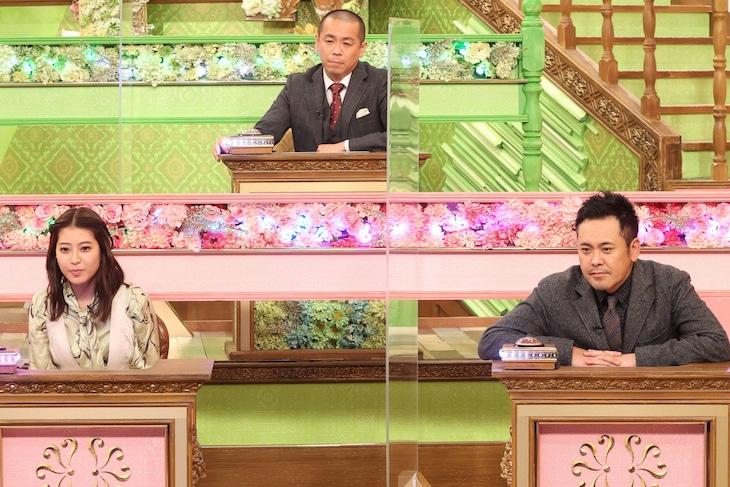 左から瀧本美織、トシ(タカアンドトシ)、有田哲平(くりぃむしちゅー)。(c)フジテレビ