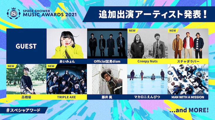 「SPACE SHOWER TV 30TH ANNIVERSARY SPACE SHOWER MUSIC AWARDS 2020」出演アーティスト