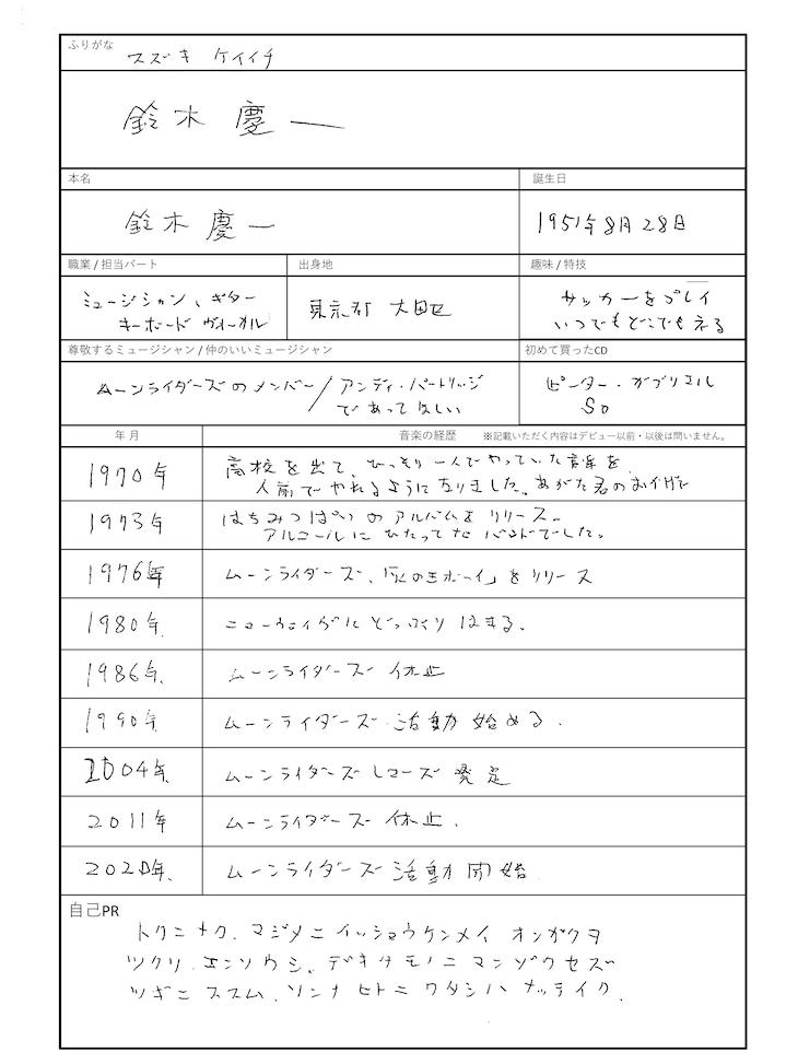 鈴木慶一の履歴書。