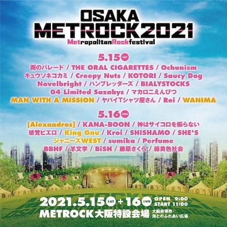 「METROPOLITAN ROCK FESTIVAL」に出演予定だったアーティスト。