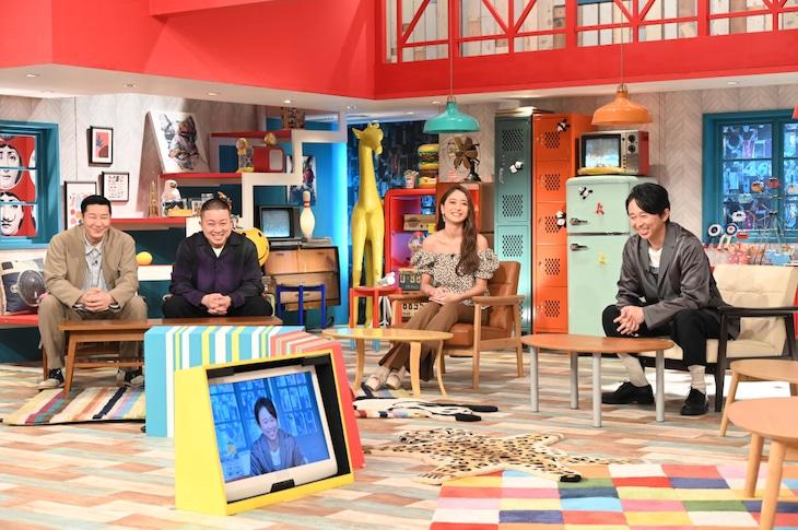 「有吉ジャポンII ジロジロ有吉SP」に出演する(左から)チョコレートプラネット、池田美優、有吉弘行。(c)TBS