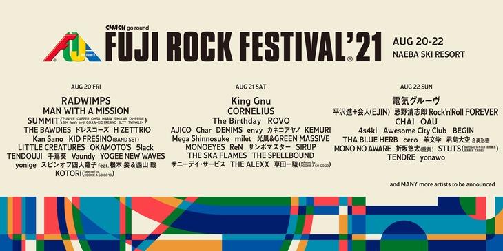 「FUJI ROCK FESTIVAL '21」出演アーティスト第1弾告知ビジュアル