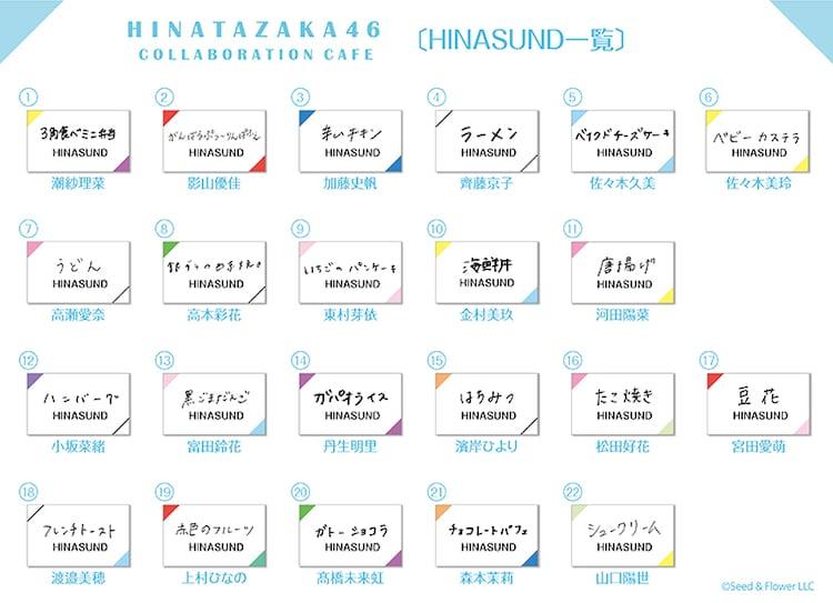 HINASUNDの22種類の具材詳細。