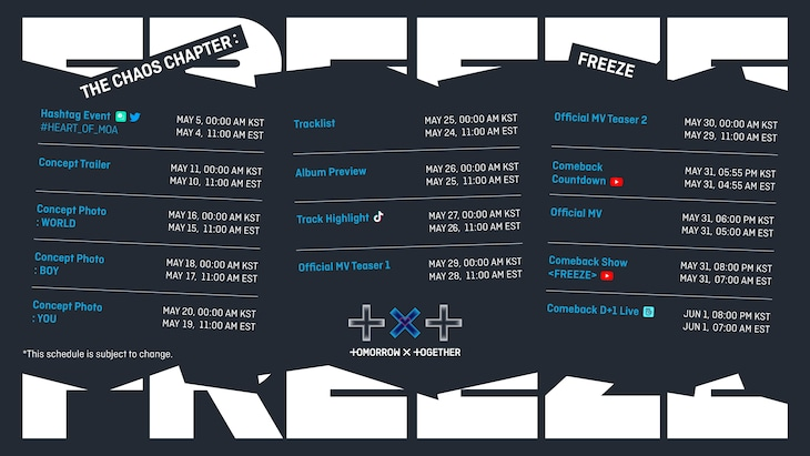 TOMORROW X TOGETHER「The Chaos Chapter: FREEZE」PROMOTION SCHEDULE。(c)BIGHIT MUSIC