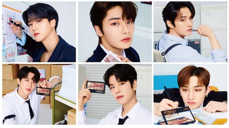 上段左からHAN、I.N、Lee Know、下段左からChangbin、Seungmin、Bang Chan 。