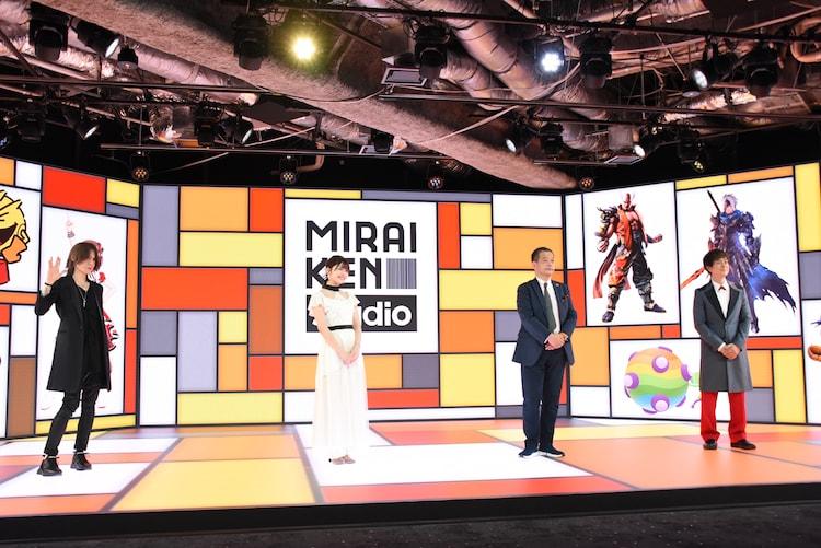 左からSUGIZO、金澤朋子、株式会社バンダイナムコエンターテインメント 代表取締役社長 宮河恭夫氏、ヒャダイン。