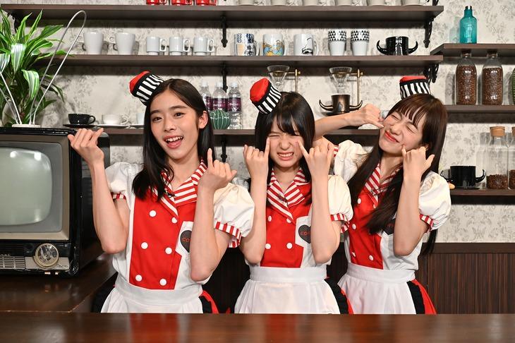 私立恵比寿中学新メンバーの風見和香、小久保柚乃、桜木心菜(左から)。