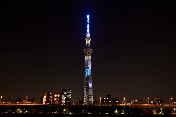 米津玄師「Pale Blue」東京スカイツリー特別ライティングイメージ。