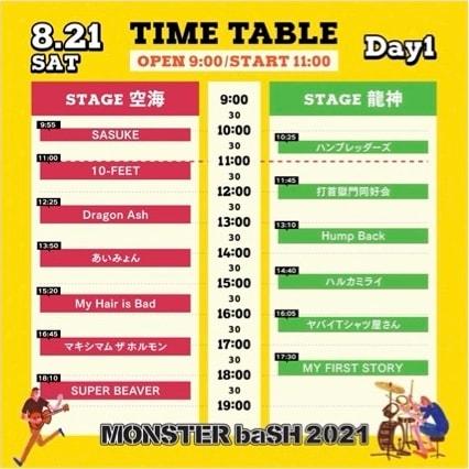 「MONSTER baSH 2021」初日公演タイムテーブル