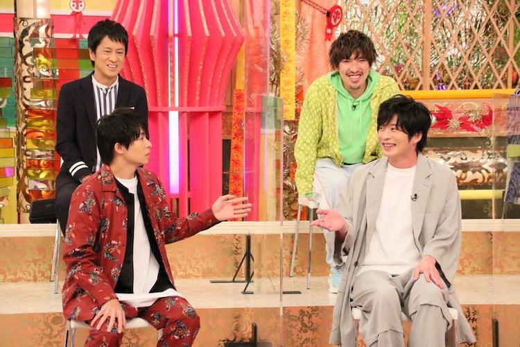 左上から時計回りに吉田敬(ブラックマヨネーズ)、りんたろー。(EXIT)、田中圭、岸優太(King & Prince)。(c)フジテレビ
