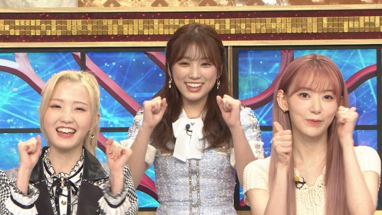 左から本田仁美(AKB48)、矢吹奈子(HKT48)、宮脇咲良。(c)TBS