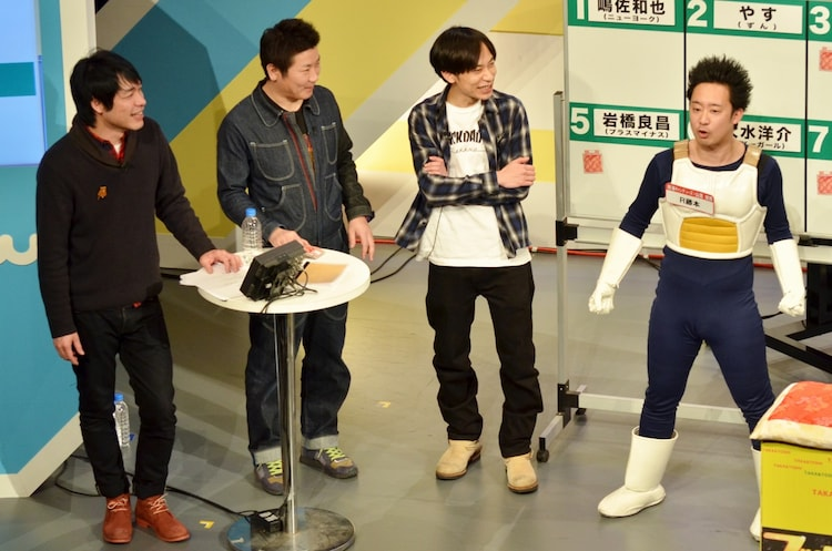 MCを務めた(左から)麒麟・川島、桂三度、インパルス板倉と、R藤本。