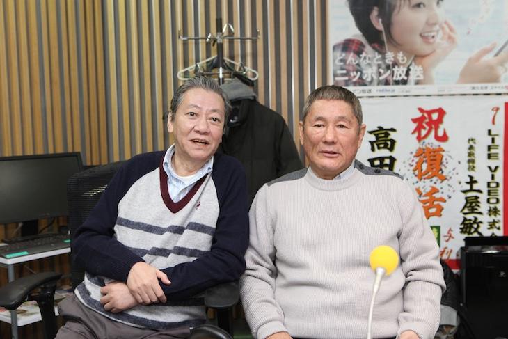 2012年12月「高田文夫のラジオビバリー昼ズ」に出演した高田文夫とビートたけし(左から)のツーショット。