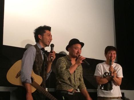 映画「騒音」の封切り記念イベント第4弾に出席した(左から)どぶろっく、関根勤。 (c)2015騒音組合