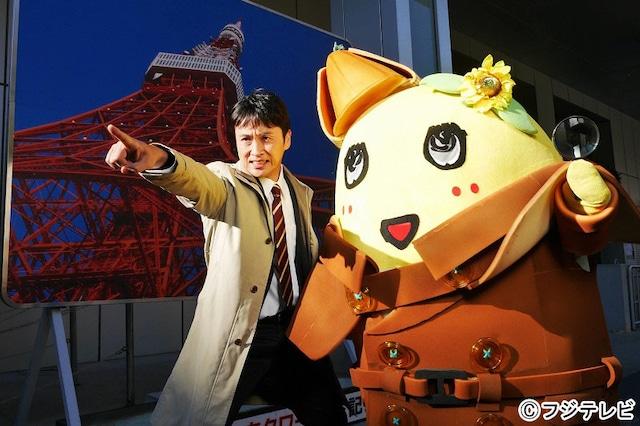 ドラマ特番「ふなっしー探偵」に出演する(左から)アンジャッシュ児嶋、ふなっしー。