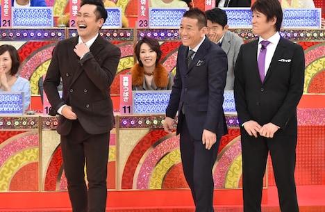 MCの(手前左から)くりぃむしちゅー、林修。(c)テレビ朝日