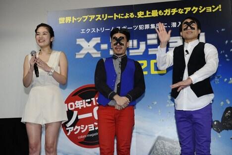 映画「X-ミッション」の劇場公開直前イベントに登壇した、(左から)筧美和子、ピスタチオ伊地知、なだぎ武。