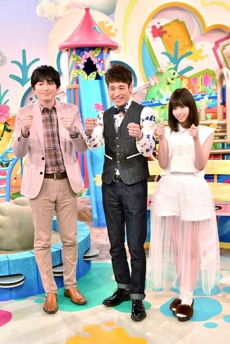 (左から)博多華丸・大吉の大吉、佐藤隆太、西野七瀬(乃木坂46)。