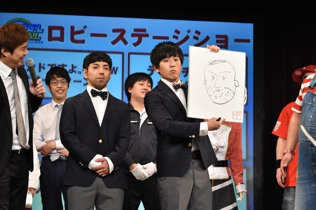 デッカチャンに対抗して10秒でいぬ太田の似顔絵を書いてみせるいぬ有馬。