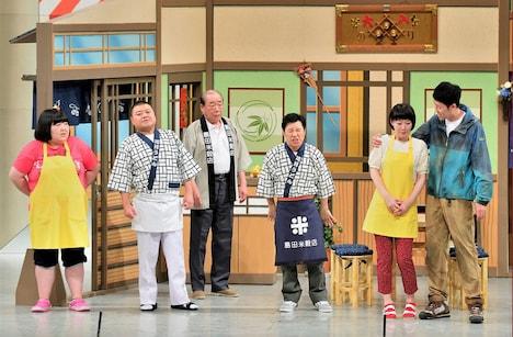 川畑泰史、小籔千豊、すっちーの3座長が出演するスペシャル新喜劇「恋の大三角形!?」のワンシーン。(c)MBS