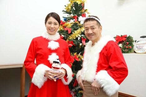 左から松下奈緒、くりぃむしちゅー上田。(c)日本テレビ