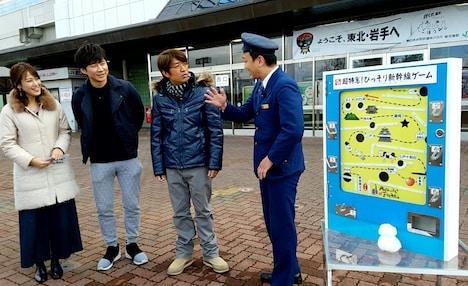左から鷲見玲奈アナウンサー、アンジャッシュ渡部、さまぁ~ず大竹、ななめ45°岡安。(c)テレビ東京