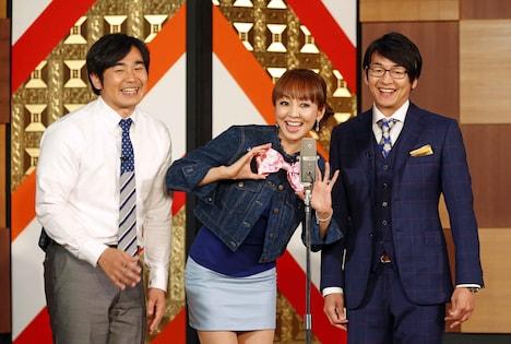 「お笑い演芸館 5時間スペシャル」で漫才を繰り広げる、ハマカーンと神田うの(中央)のユニット「うのカーン」。(c)BS朝日