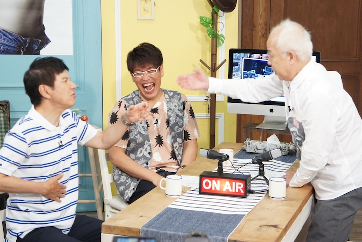 「コサキンのラジオごっこ」に出演する(左から)関根勤、古坂大魔王、小堺一機。