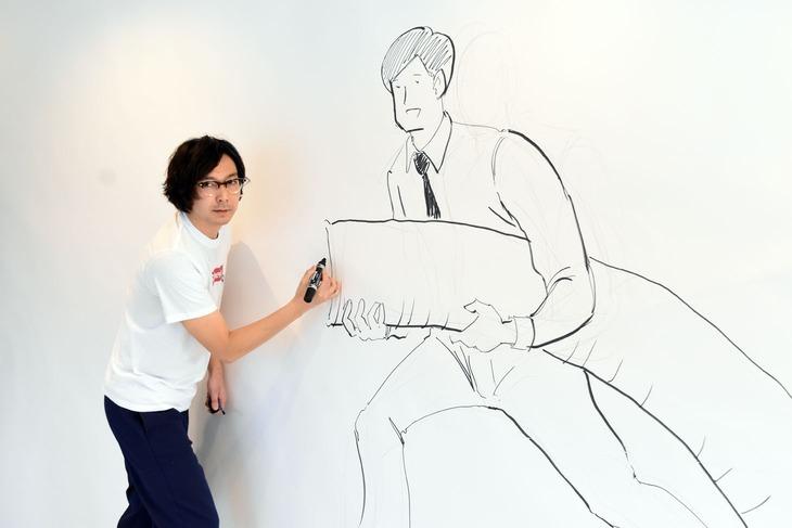ライブペインティングに初挑戦した田中光。